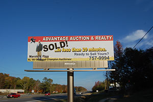 Advantage Autction and Realty billboard